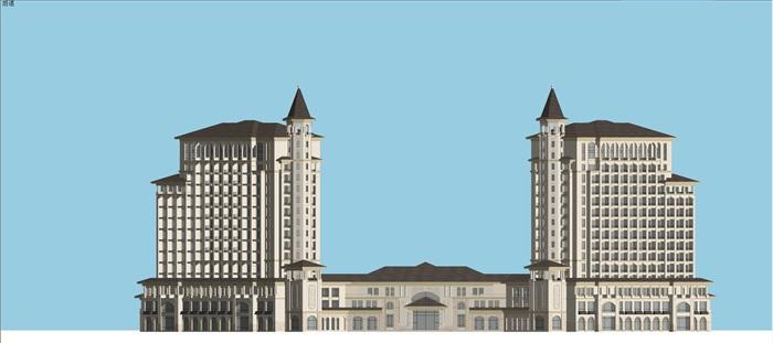 某西班牙风格酒店su精细模型(3)