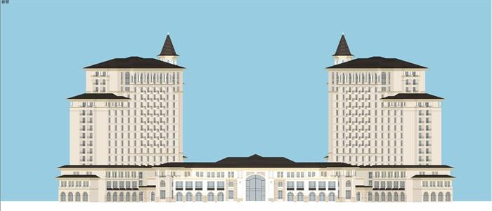 某西班牙风格酒店su精细模型(5)