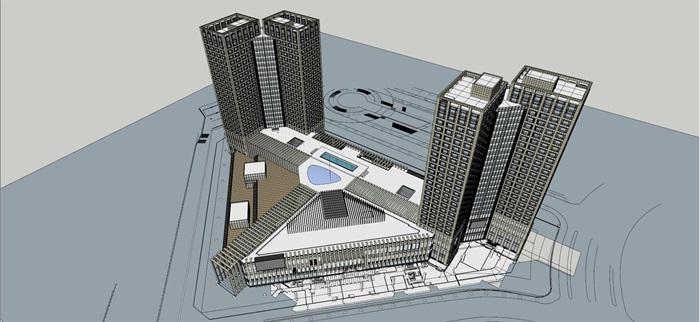某城市综合体su精细模型帅(1)