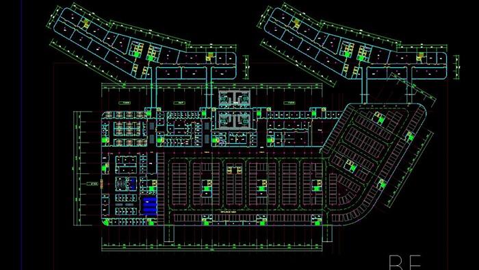 现代流线型造型生态绿色医疗疗养院规划建筑设计文本+CAD+效果图(7)