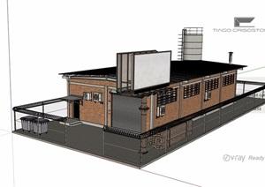 某现代工厂工业建筑设计SU(草图大师)模型