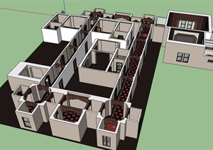 现代室内酒店空间SU(草图大师)模型