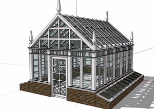 某屋顶玻璃房建筑SU(草图大师)模型