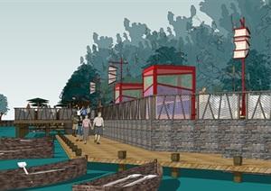 某中式护城河公园景观设计SU(草图大师)精细模型