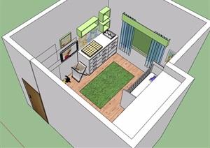 现代儿童房室内设计SU(草图大师)模型