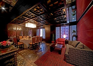 中式风格餐厅室内设计图纸及效果图