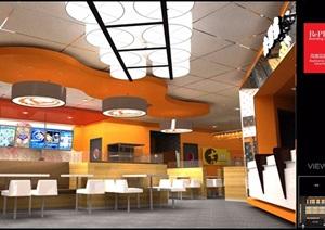 现代风格日式餐厅室内设计施工图及效果图