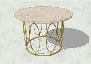 精致簡約特色圓形大理石茶幾設計SU(草圖大師)模型