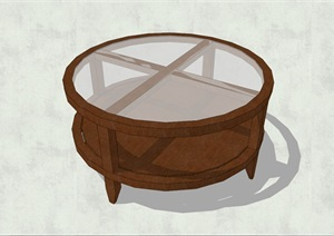 精致簡約特色圓形玻璃茶幾設計SU(草圖大師)模型