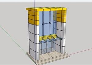 某现代建筑大门素材设计SU(草图大师)模型