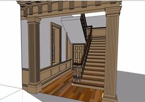 欧式风格建筑室内楼梯设计SU(草图大师)模型