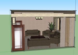 住宅现代室内客厅空间SU(草图大师)模型