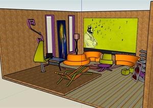 现代风格客厅室内SU(草图大师)模型