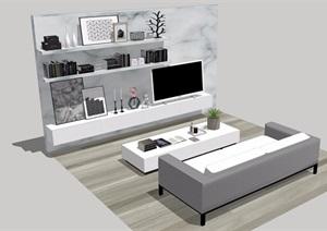 现代风格某室内客厅SU(草图大师)模型