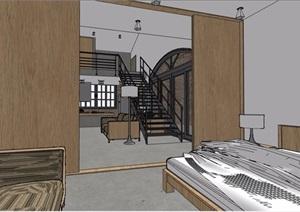 现代风格跃层住宅室内SU(草图大师)模型