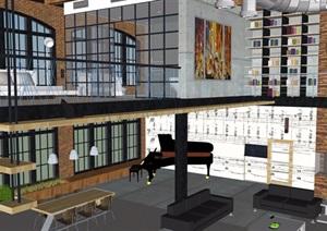 现代独特住宅室内空间SU(草图大师)模型