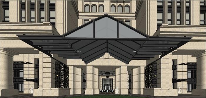 某欧式古典风格酒店建筑设计su模型素材[原创]