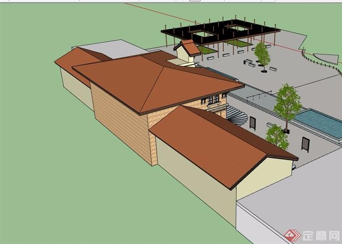 欧式风格详细火车站建筑设计su模型[原创]