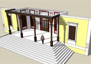 现代风格建筑门廊设计SU(草图大师)模型