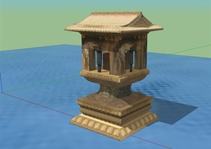 古典中式风格灯塔小品设计SU(草图大师)模型