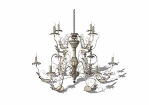 欧式风格详细经典的室内吊灯设计SU(草图大师)模型