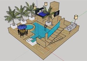 现代风格详细的庭院设计SU(草图大师)模型