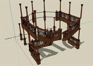 欧式风格室内木质栏杆设计SU(草图大师)模型