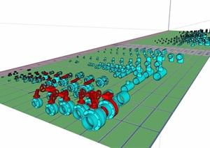 水管开关素材设计SU(草图大师)模型
