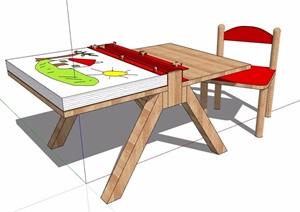 现代儿童桌椅设计SU(草图大师)模型