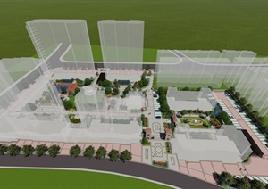 某绿城管理设计的小区景观效果图SU(草图大师)模型