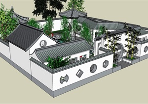 中国古典园林SU(草图大师)建筑模型