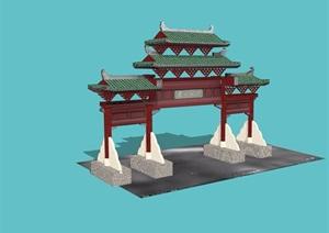 古典風格詳細的牌坊大門設計SU(草圖大師)模型