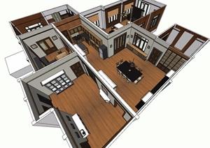 現代風格詳細室內住宅空間SU(草圖大師)模型