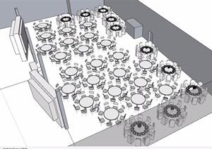 無材質貼圖室內餐廳設計SU(草圖大師)模型