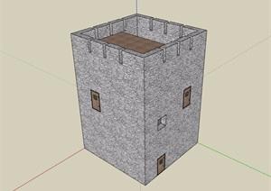 現代風格簡單的瞭望塔設計SU(草圖大師)模型