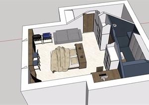 現代風格詳細的住宅臥室室內SU(草圖大師)模型