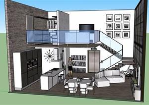 現代風格住宅室內部分設計SU(草圖大師)模型