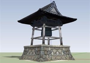 古典中式風格詳細鐘亭設計SU(草圖大師)模型