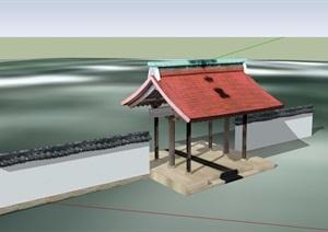 古典中式風格詳細亭門素材設計SU(草圖大師)模型