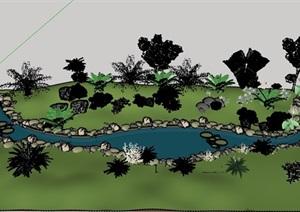 某河流景觀詳細素材設計SU(草圖大師)模型