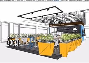 某現代風格詳細的餐飲室內空間設計SU(草圖大師)模型