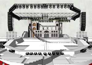 現代風格簡約鋼架舞臺場景SU(草圖大師)模型9
