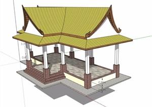 东南亚风格廊亭设计SU(草图大师)模型