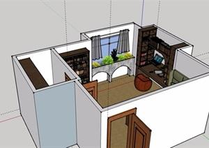 現代風格詳細的住宅臥室空間設計SU(草圖大師)模型