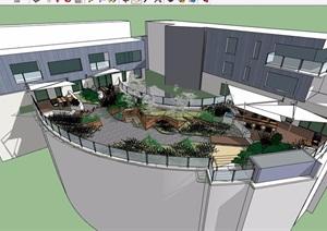 现代风格详细的屋顶空间SU(草图大师)模型