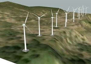 發電風車小品設計SU(草圖大師)模型
