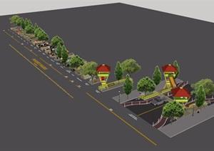 某現代風格公園小品素材設計SU(草圖大師)模型
