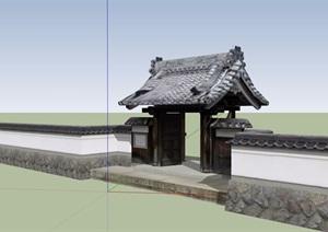 古典中式詳細圍墻門設計SU(草圖大師)模型