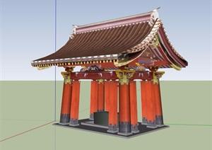 古典中式涼亭詳細設計SU(草圖大師)模型