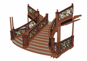 某欧式风格楼梯室内素材设计SU(草图大师)模型